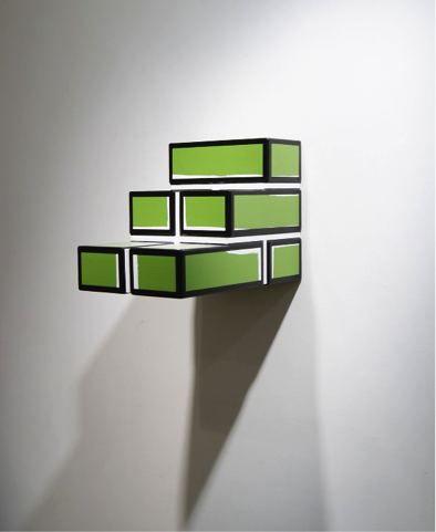 Bad Bricks 2, 2014, Wood sculpture (Green) Overall dimensions 33.5 x 30.0 x 44.2 cm  Edition of 5. Courtesy Richard Woods and  Alan Cristea Gallery, London. .png