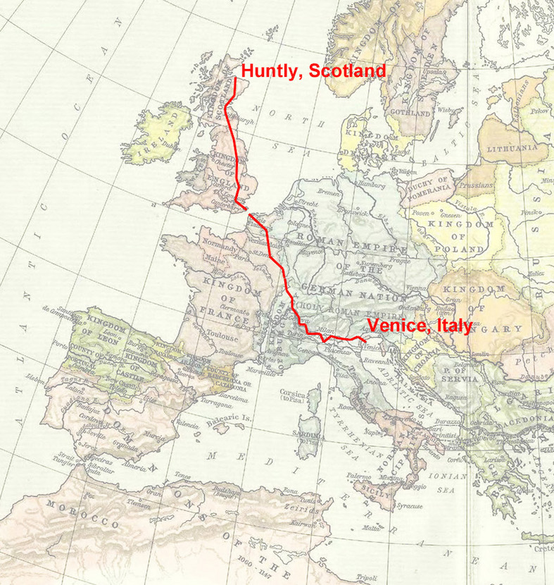Anthony Schrag. Map from Scotland to Venice (adapted from William Shepherd, 1911). Lure of the Lost, a Contemporary Pilgramme, 2015