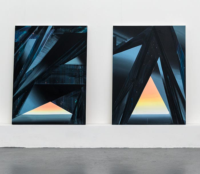 Cave Paintings (Ramsey 1 &2), studio view, both works acrylic on canvas, 122 x 92cm, 2014.photo: Joe Plommer