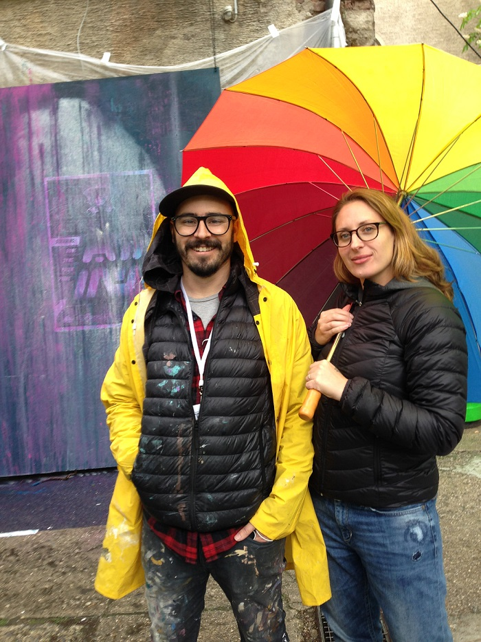 Australian artist Rone and Heike in rainy Munich for the Stroke Art Fair 2015