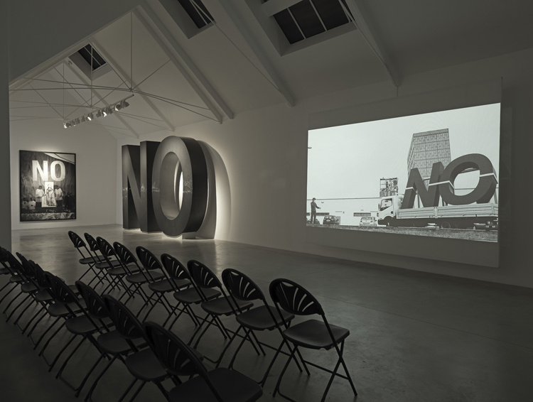 Santiago Sierra. Image via Lisson Gallery website Santiago Sierra: Dedicated to the Workers and Unemployed Installation view