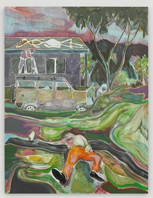 Michael Armitage, In the garden 2015 Oil on Lubugo bark cloth. 76 15/16 x 58 7/8 in. (195.5 x 149.5 cm) © Michael Armitage. Photo © White Cube (George Darrell)