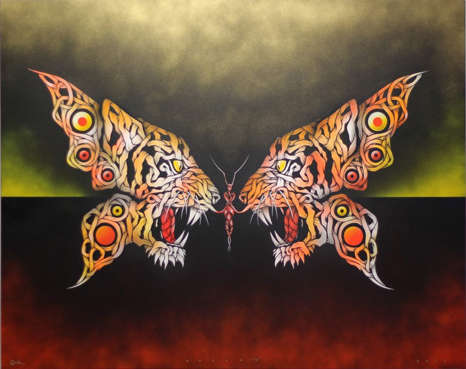 Butterfly Tiger by Otto Schade. 150x122 cm mixed media stencil spray