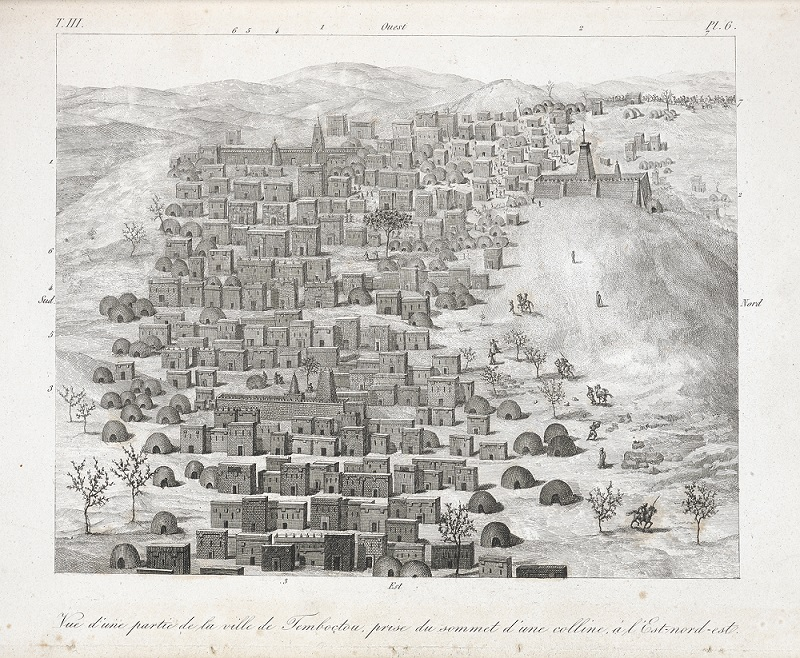 An early engraving of Timbuktu made by Ren Cailli the first ever European to reach the city and return in 1830.