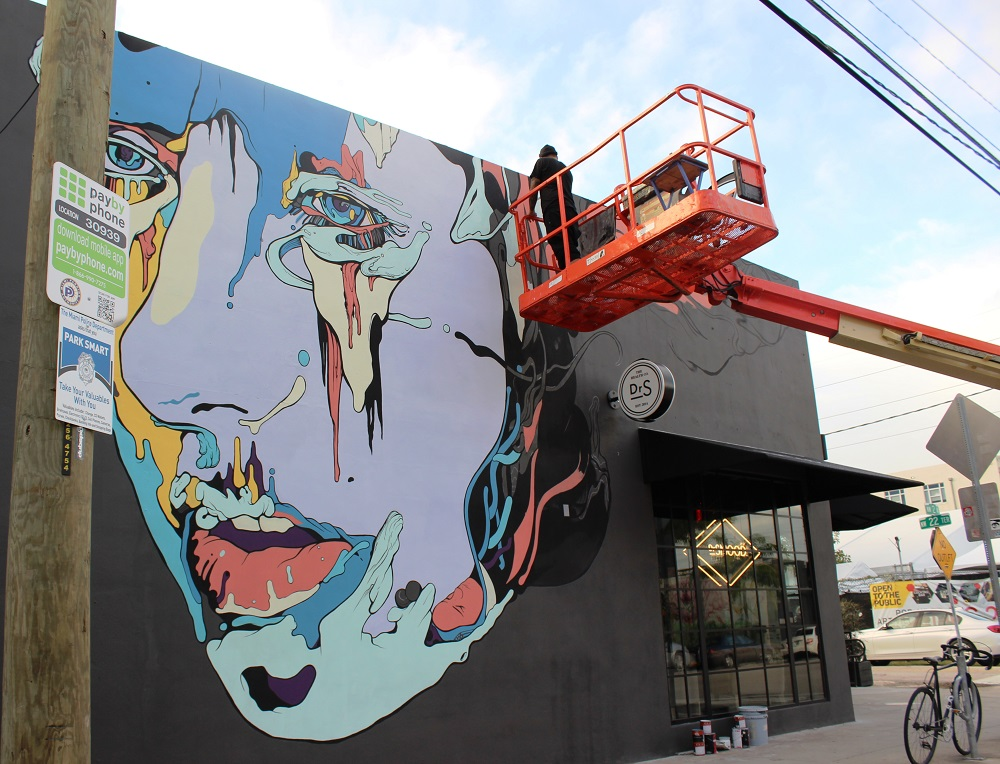 Miami artist Jose Mertz painting in Wynwood