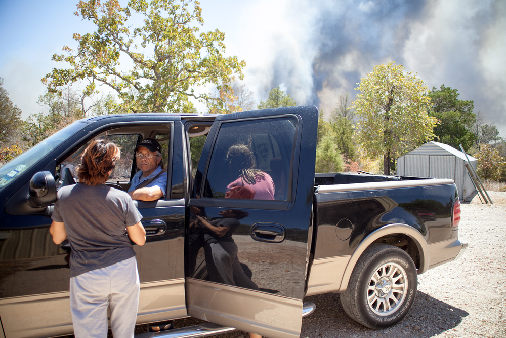 Patricia's husband was able to grab a few of the family's belongings before picking them up at the fire station.