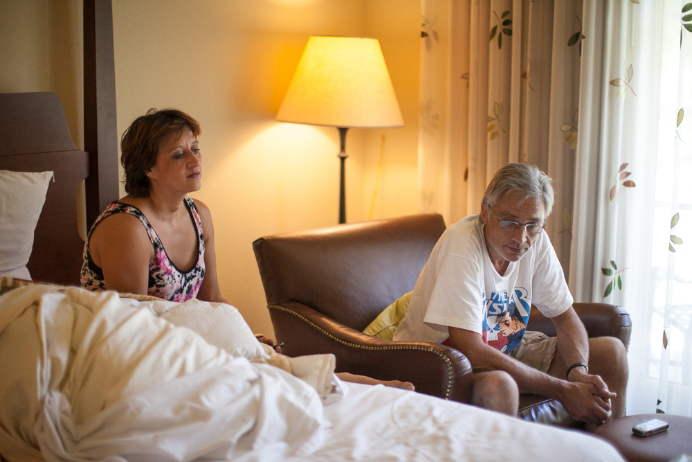 Patricia, her three daughters, and her husband were displaced tothe Hyatt Regency while their neighborhood was evacuated.
