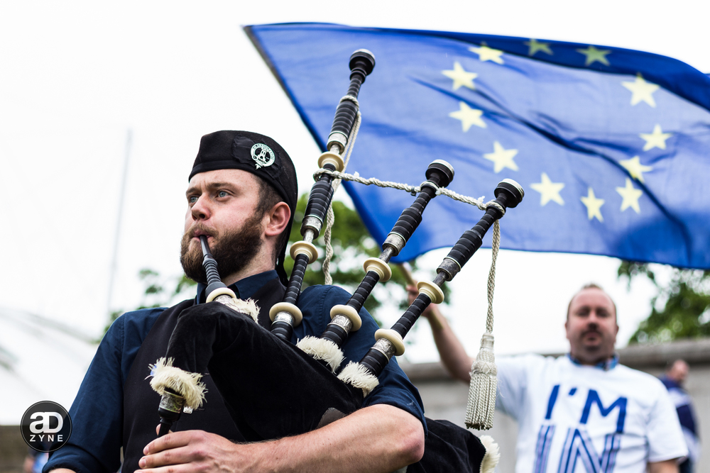 Piper at a Pro EU rally, Edinburgh