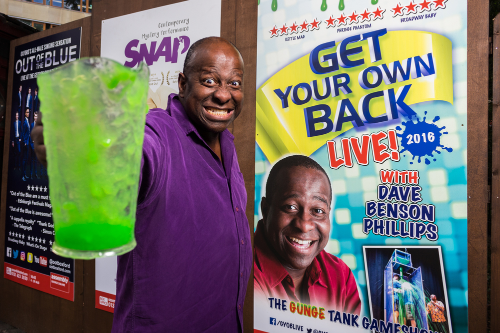 Dave Benson Phillips tries a 'Dirty Harry' look during the promotional shoot