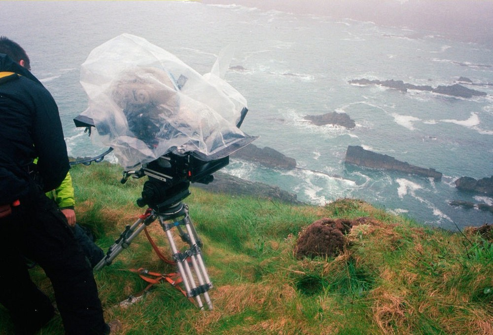 Director Rian Johnson on set of Star Wars: Episode VIII the Skellig Michael island.