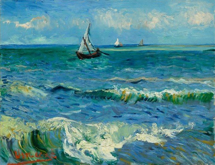 """Vincent van Gogh :  """"The Sea at Les Saintes-Maries-de-la-Mer""""  (1888). Van Gogh Museum, Amsterdam (Vincent van Gogh Foundation)"""