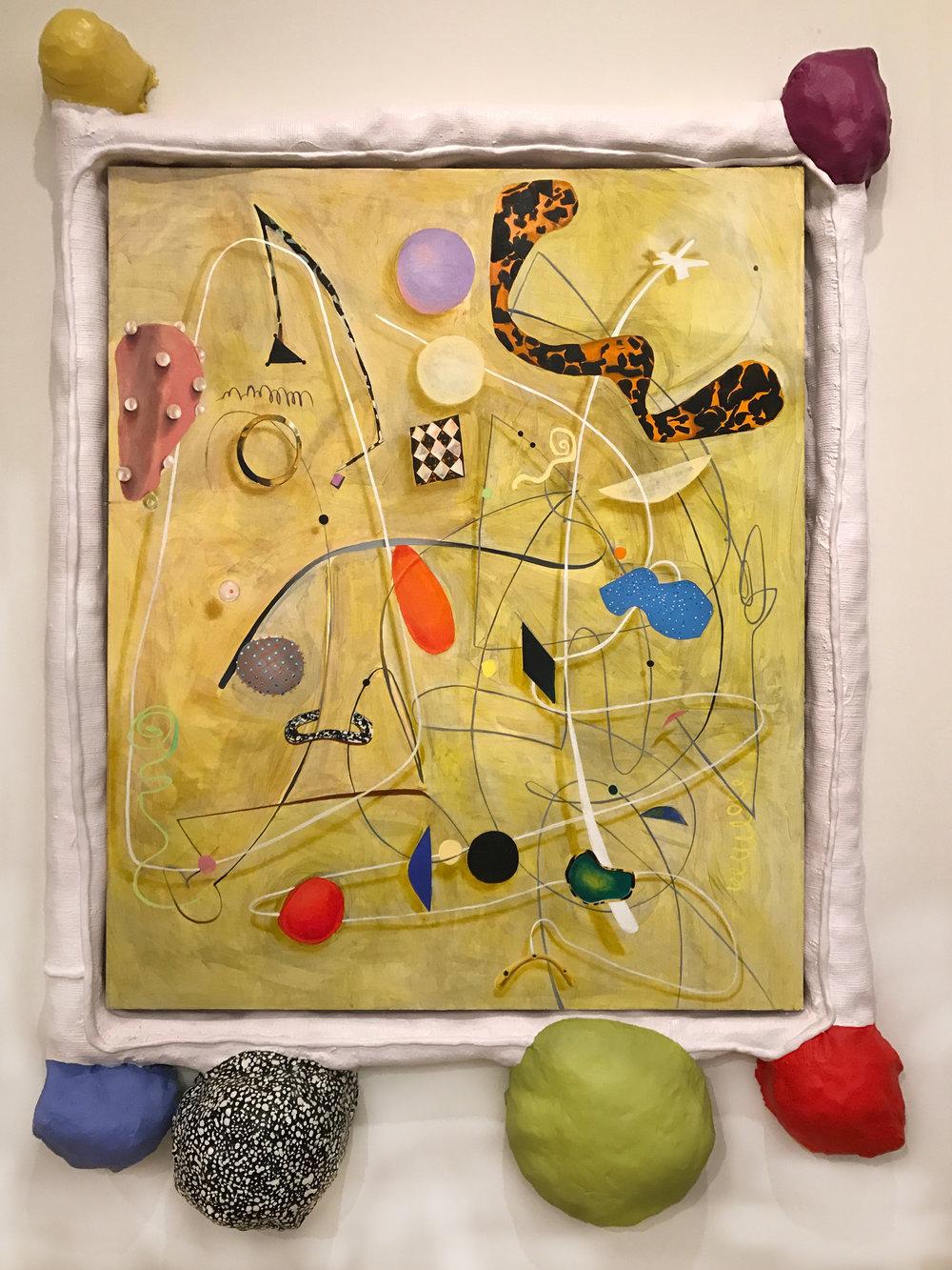 A Lived Thing II  oil, acrylic paint, foam, plaster, fiberglass, Apoxie Sculpt, canvas 70 x 68 x 5 in