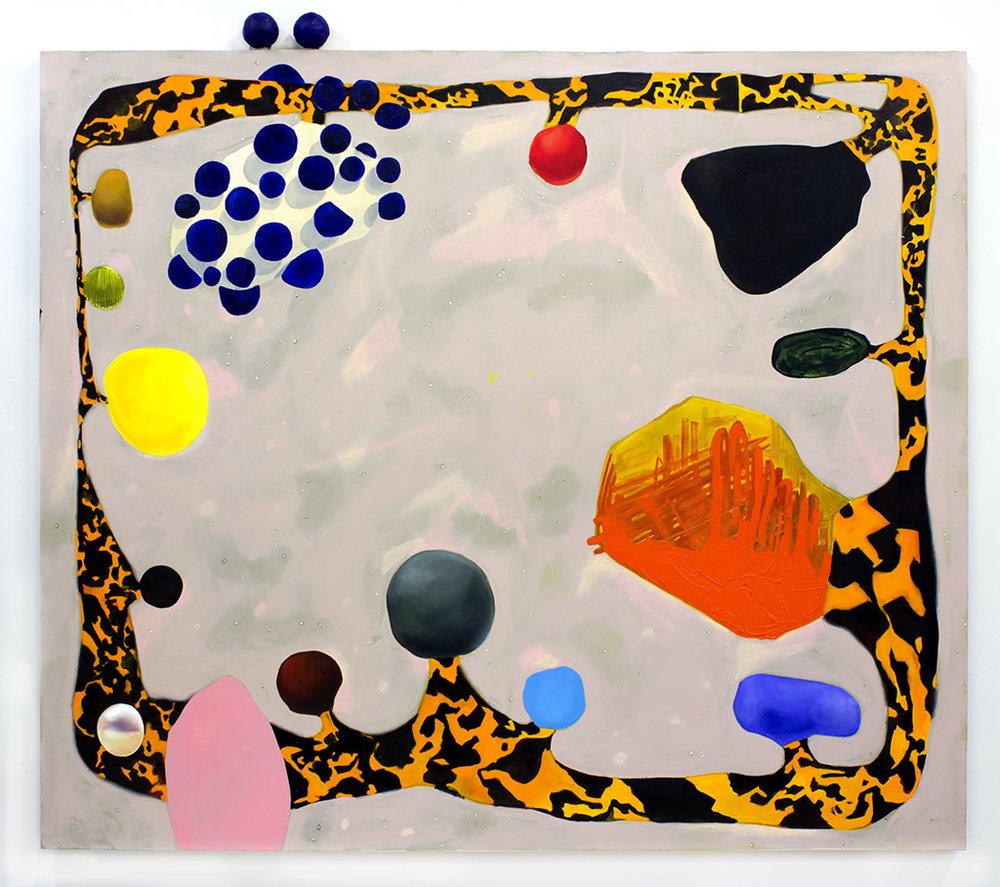 Framed Within  oil, foam, Apoxie Sculpt on canvas 70 x 80 x 3 in