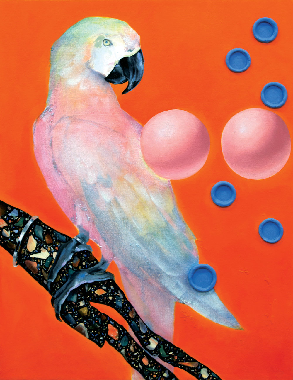 Parrotry at the Bodega  oil, Apoxie Sculpt, acrylic paint on canvas 26 x 20 in