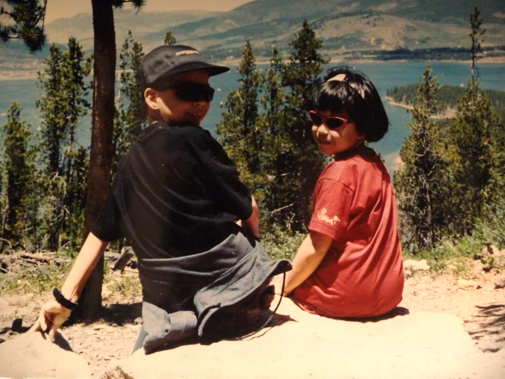 Alfredo and Isabel surrounded by Ponderosa pines. (Lake Dillon, CO, 1996)