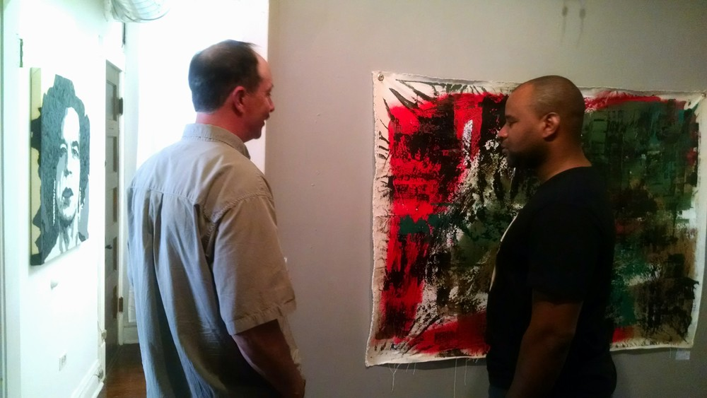 Artist Charles Echols at his group show: Works on Walls III, June 25, 2015