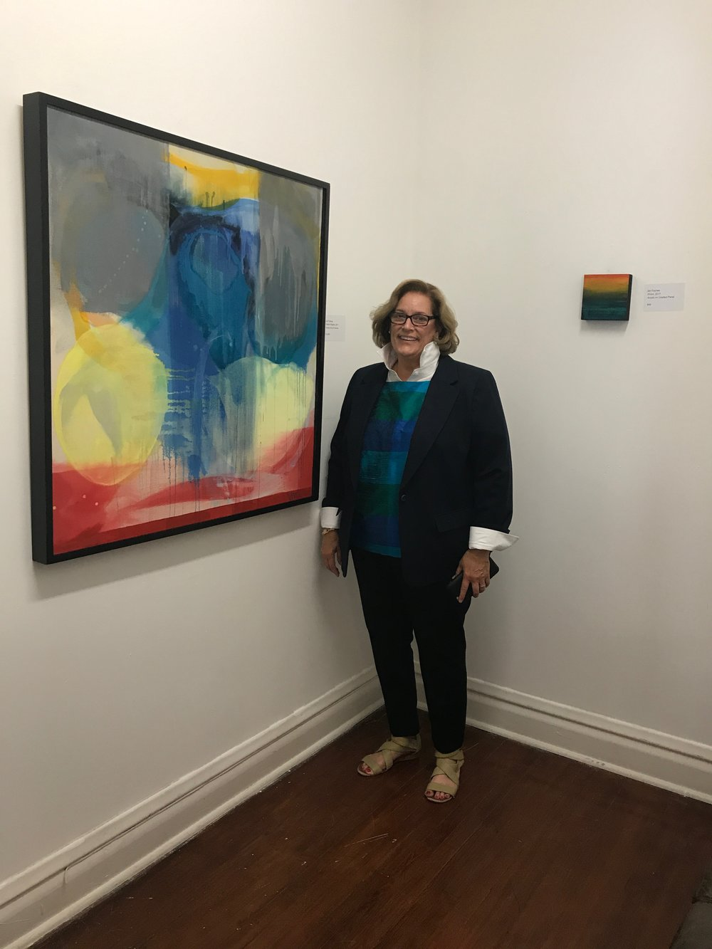 Painter Jan Fayhee at her solo exhibit: Intutive Ink