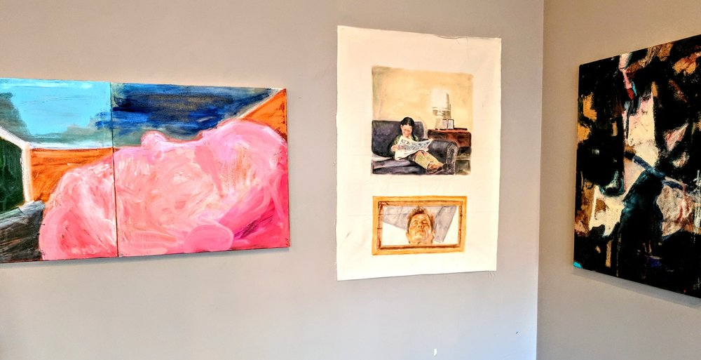 Installation shot of Modified Trajectory; paintings in photo by Timothy Curtin, Micheal Coon and Christine Ann Connor.