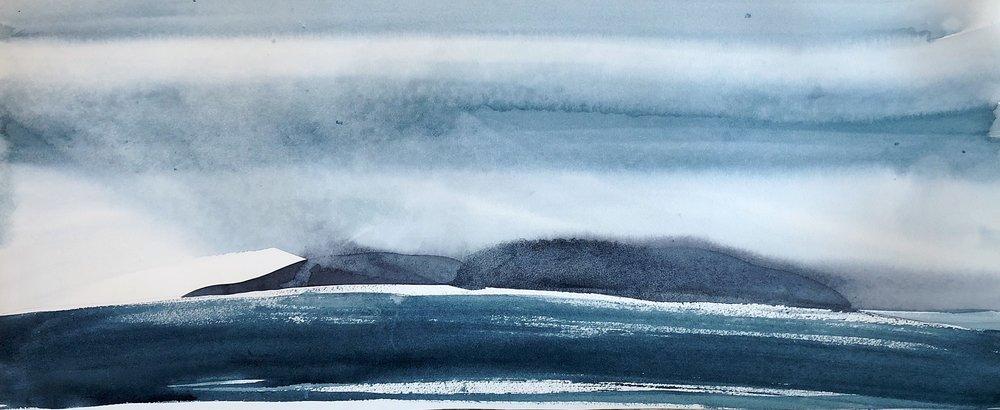 na h-Eileanan Seunta study 1 watercolour on TH Saunders Waterford 39.5 x 84 cm