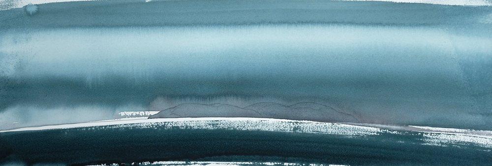 na h-Eileanan Seunta study 2 watercolour on TH Saunders Waterford 25 x 76.5 cm