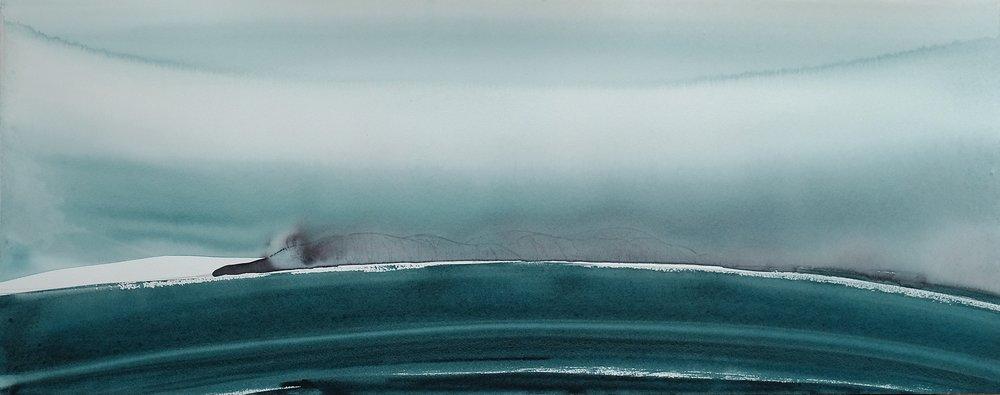 na h-Eileanan Seunta study 4 watercolour on TH Saunders Waterford 30.5 x 77 cm