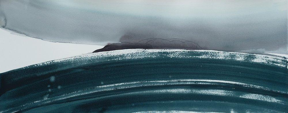 na h-Eileanan Seunta study 5 watercolour on TH Saunders Waterford 31 x 77.5 cm