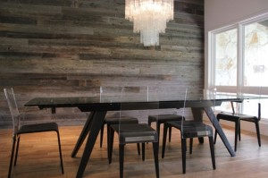 2 - rustic wood wall in dining room