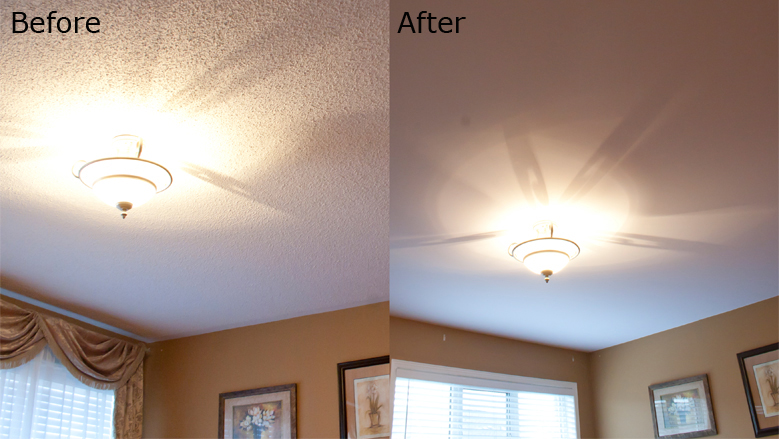 popcorn ceiling to flat with no mess check it out —