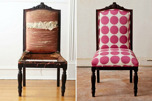 pink polka dot chair makeover - 6860392276_59b8002741 - Reupholstering A  Chair With Trendy Fabric — Toronto - Reupholstered Antique Chairs Antique Furniture