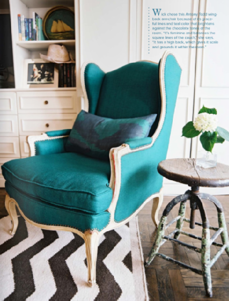 turquoise wing chair - 36f3e0fd95a2