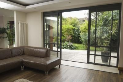 sliding glass doors - black - detailed
