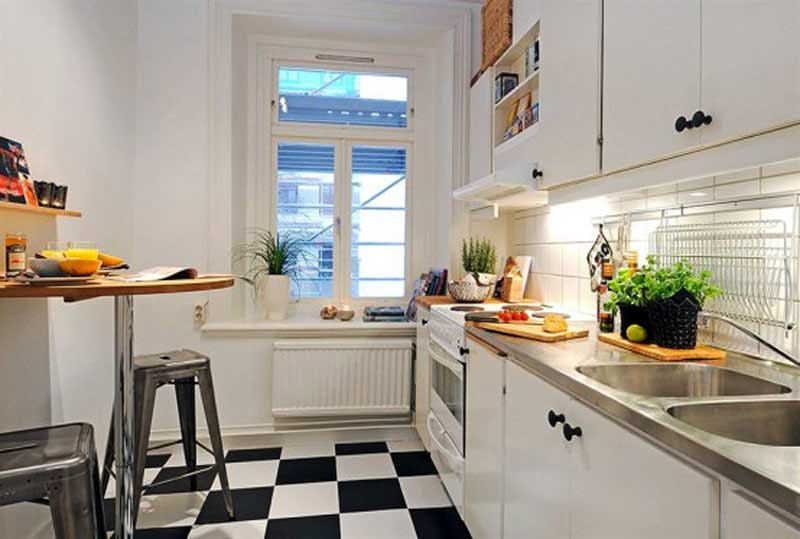 black and white checkerboard floor - small-kitchen-ideas
