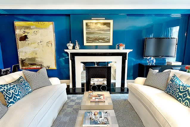 shiny blue walls in living room - christinamurphy