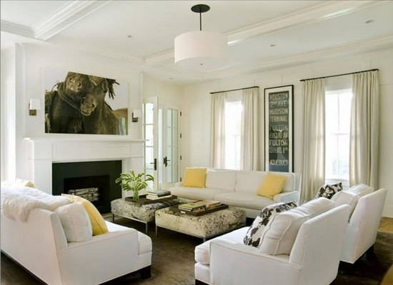 Cosy-Living-Room-Winter-white-living-room-yellow-accent-throw-pillows-wild-horses-of-sable-island-photograph-drum-pendant-light-550x400