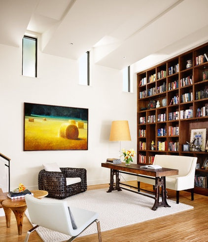 bookshelves in a modern space