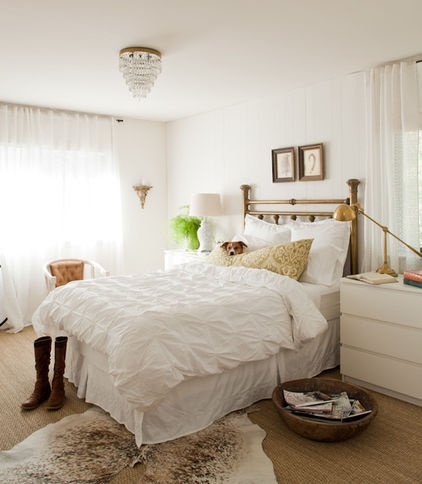 white bedroom with warm tones