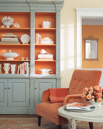 bookshelf - robin's egg blue and orange