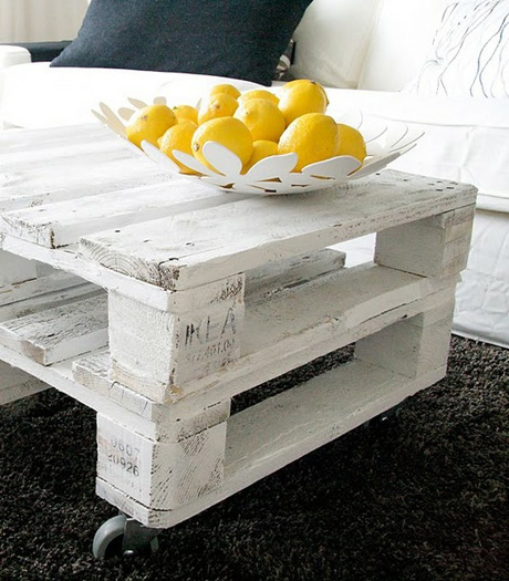 pallet painted as a coffee table