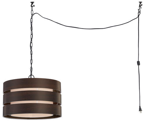 14 - wood and glass hanging light fixture - not hard wired