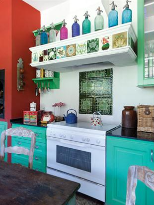 turquoise cabinets with red walls - kitchen