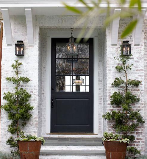 Plain Black Door House White Front C In Design Inspiration