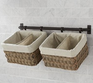 baskets on towel rod