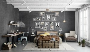 charcoal walls - Industrial-bedroom-scheme