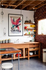 exposed beams and brick in kitchen