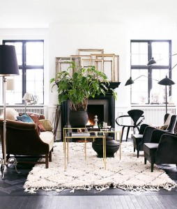 21 - black and white living room with gold accents