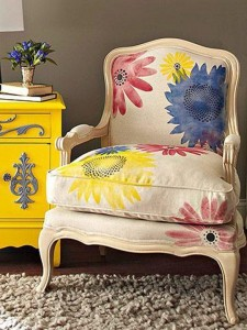 flower chair with yellow dresser