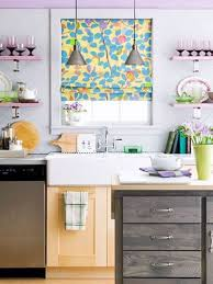 flower curtain in modern kitchen
