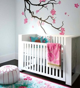 Modern Minimalist White Nursery Wall Murals Ideas Pink Flowers Tree Decor