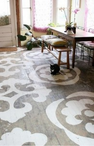 painted wood floor - with designs