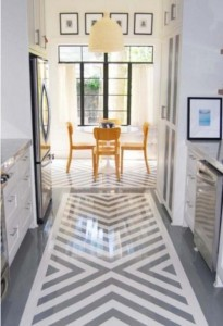 painted wood floors - chevron